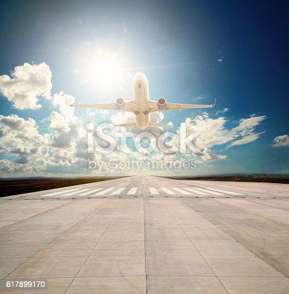494996104 istock photo Passenger plane take off 617899170
