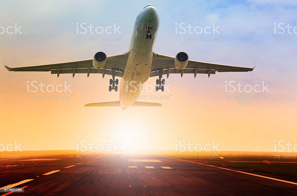 passenger plane taking over airport runway use for air transport and...
