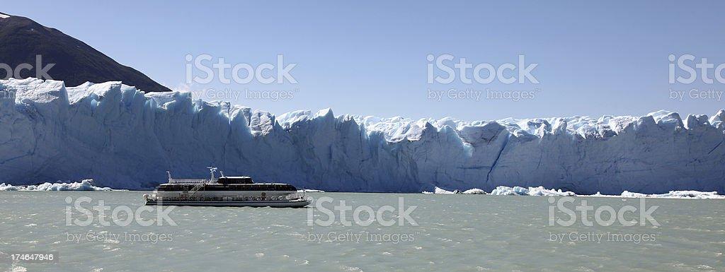 Passenger Ship in front of the Perito Moreno Glacier royalty-free stock photo