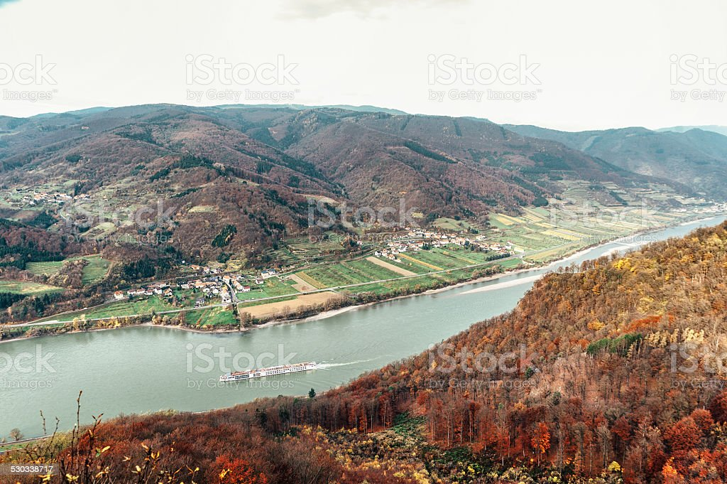 Passenger Ship in the Danube River stock photo