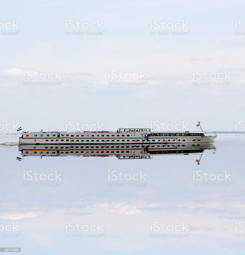 Passenger ship on a calm lake royalty-free stock photo