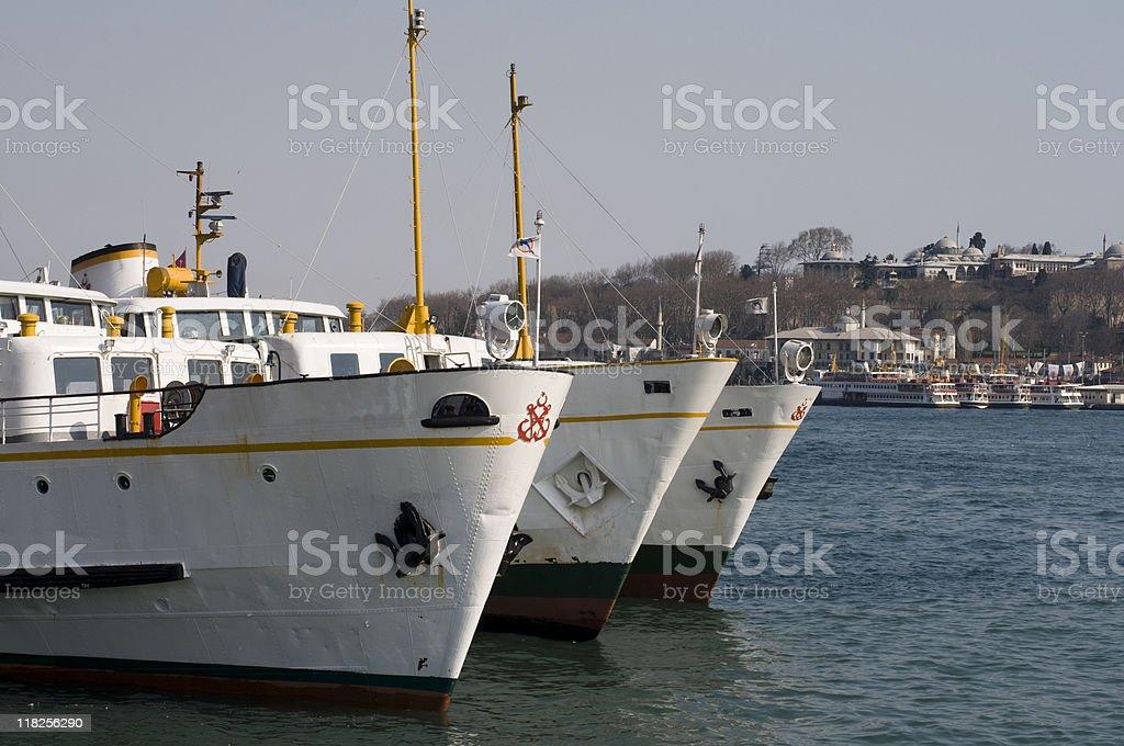 Passenger ships docked at a harbor, Turkey, Istanbul, Karaköy royalty-free stock photo