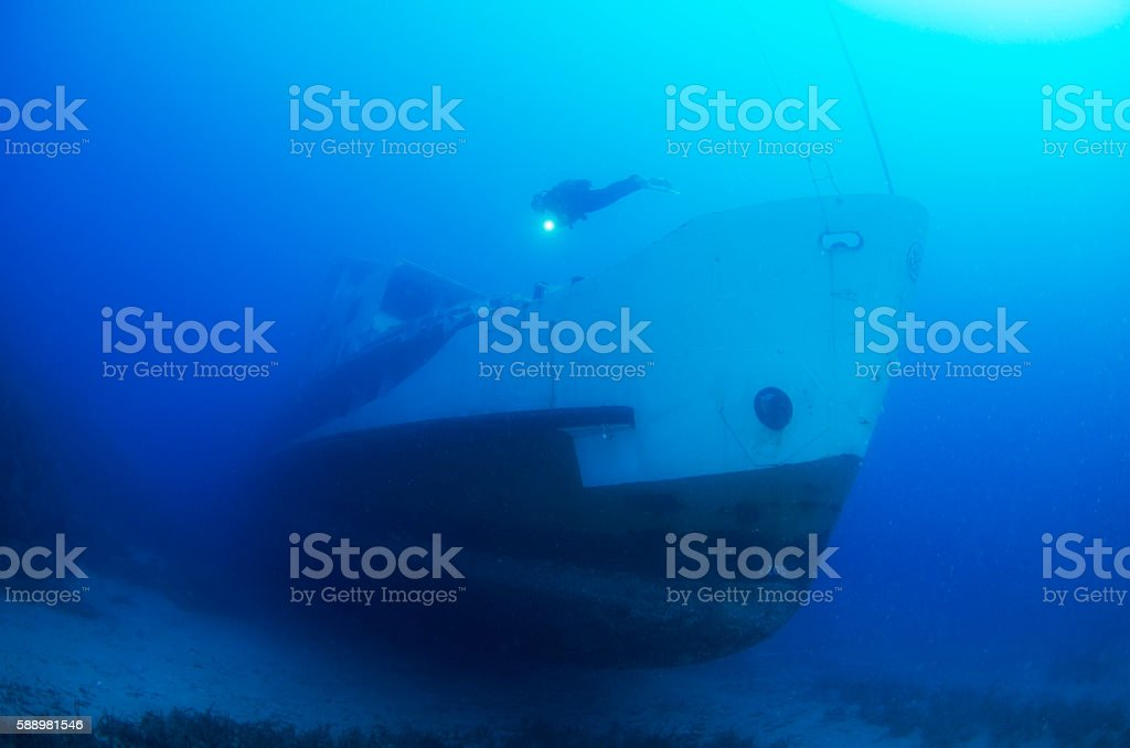 Passenger Shipwreck in Blue stock photo