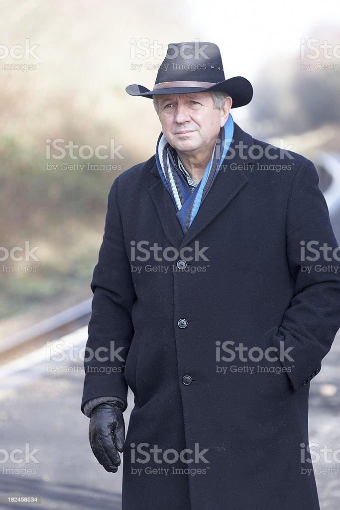 Passenger standing in the railway station royalty-free stock photo