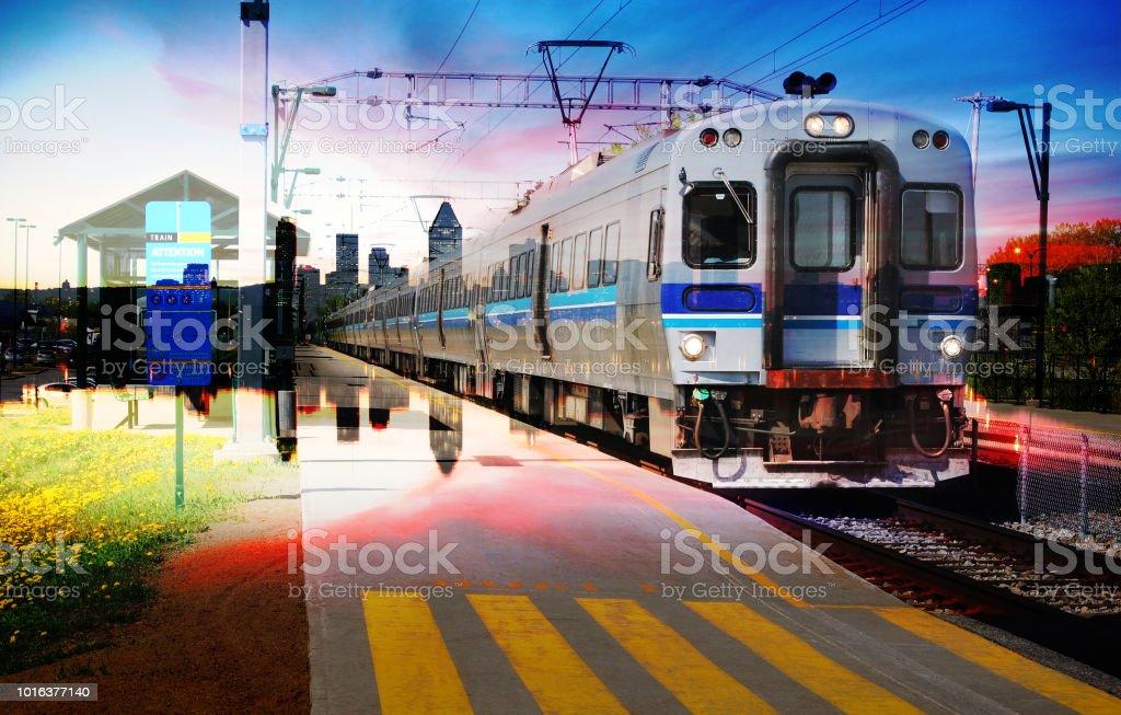 Passenger Train and Railroad Photo Montage stock photo