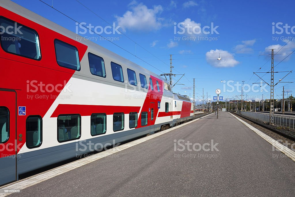 Passenger train departure royalty-free stock photo