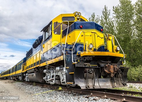 A sightseeing passenger train in Alaska traveling from Anchorage to Denali National Park.
