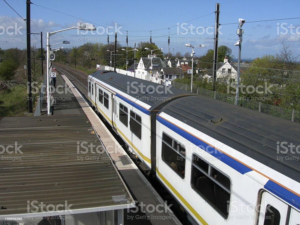 Passenger Train Standing at Station Platform royalty-free stock photo