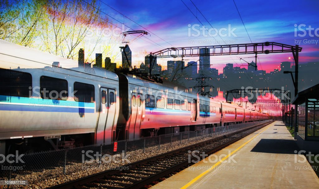 Passenger Train with Montreal Cityscape Photo Concept stock photo