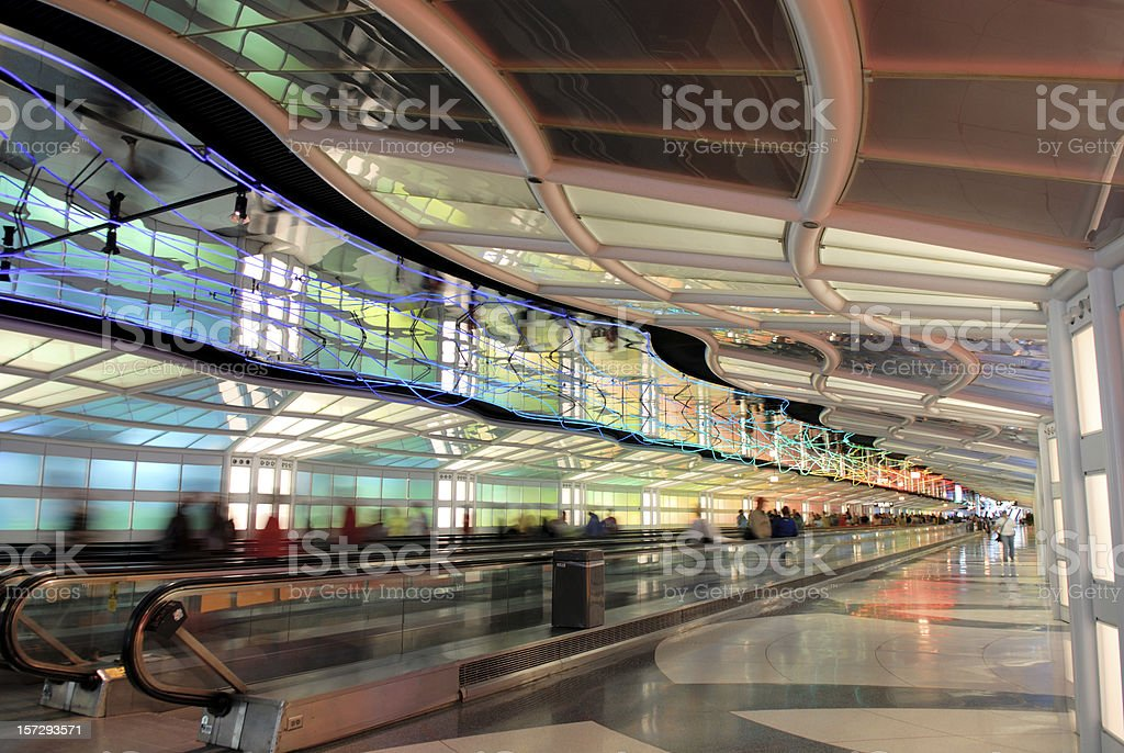 Passenger Tunnel  at Airport stock photo