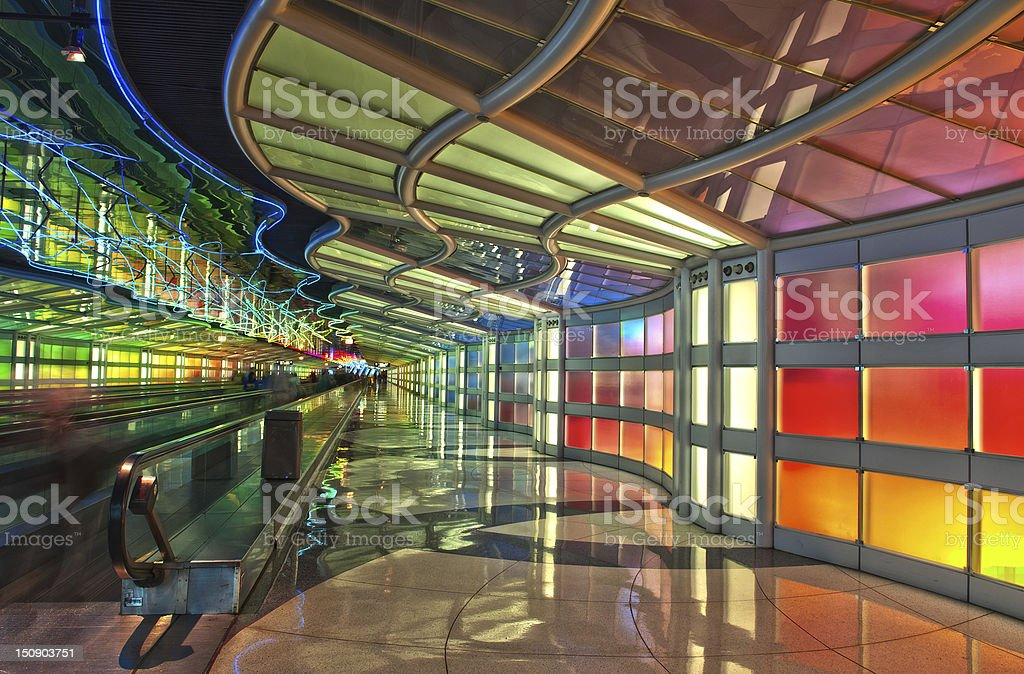 Passenger Tunnel, Chicago O'Hare Airport stock photo