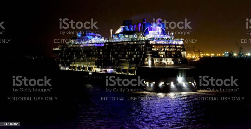 Passenger vessel QUANTUM OF THE SEAS in Shanghai in service for Royal Caribbean International (RCI). stock photo