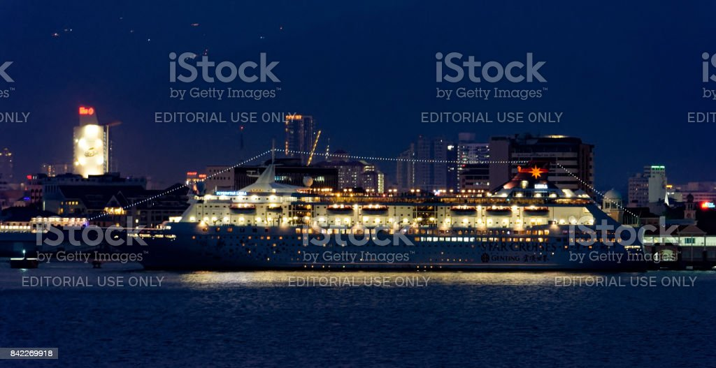 Passenger vessel SUPERSTAR LIBRA in Georgetown harbor in service for Star Cruises. stock photo
