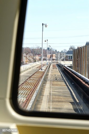 Morgantown, West Virginia, USA - April 6, 2015: Passenger view from inside a West Virginia University (WVU) Personal Rapid Transit (PRT) car as it accelerates on a straight section of track between stations.