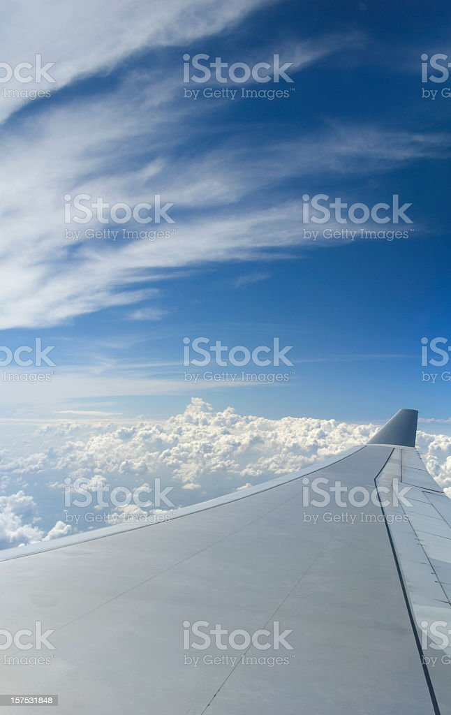 Passenger viewpoint of an airplane wing during flight royalty-free stock photo
