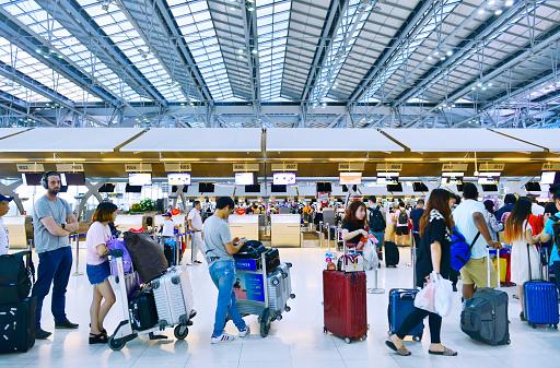 istock Passenger waiting check-in Suvarnabhumi airport,Bangkok 937188056