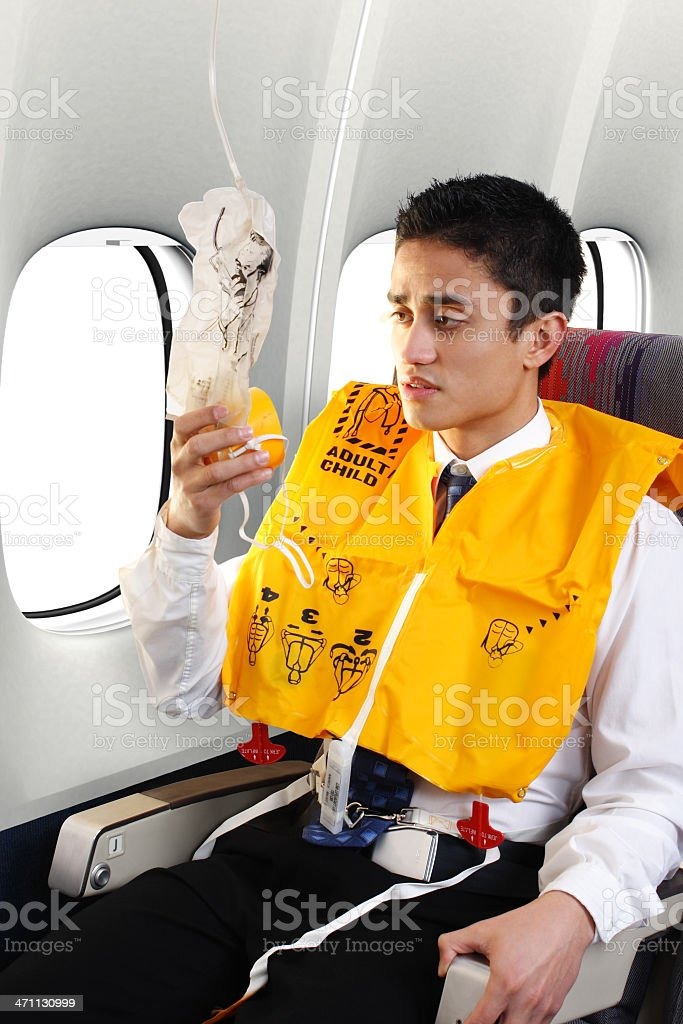 Passenger Wearing Life Vest stock photo