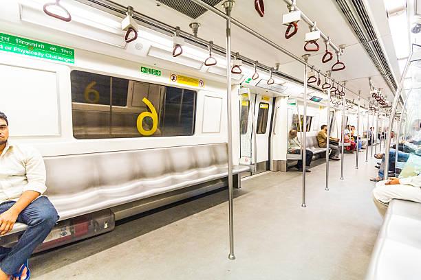 passengers alighting the metro train stock photo