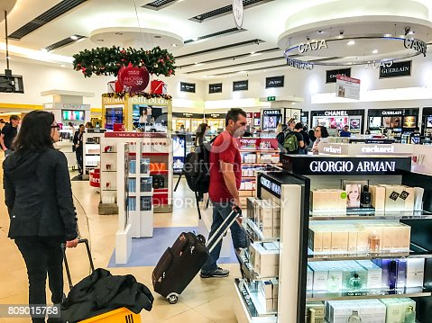 455111881istockphoto Passengers are shopping in Duty Free shops in Cancun International airport, Mexico 809015768