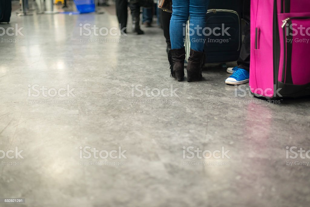 Passengers at Airport Security Check, Istanbul, Turkey stock photo