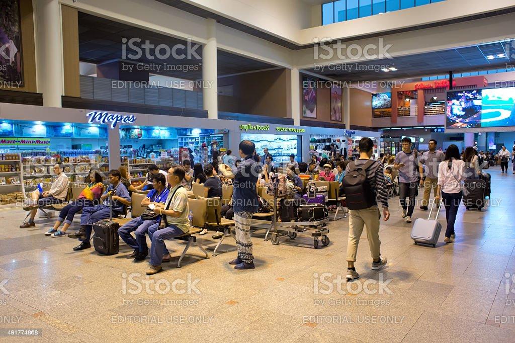 Passengers at Don Mueang International Airport stock photo