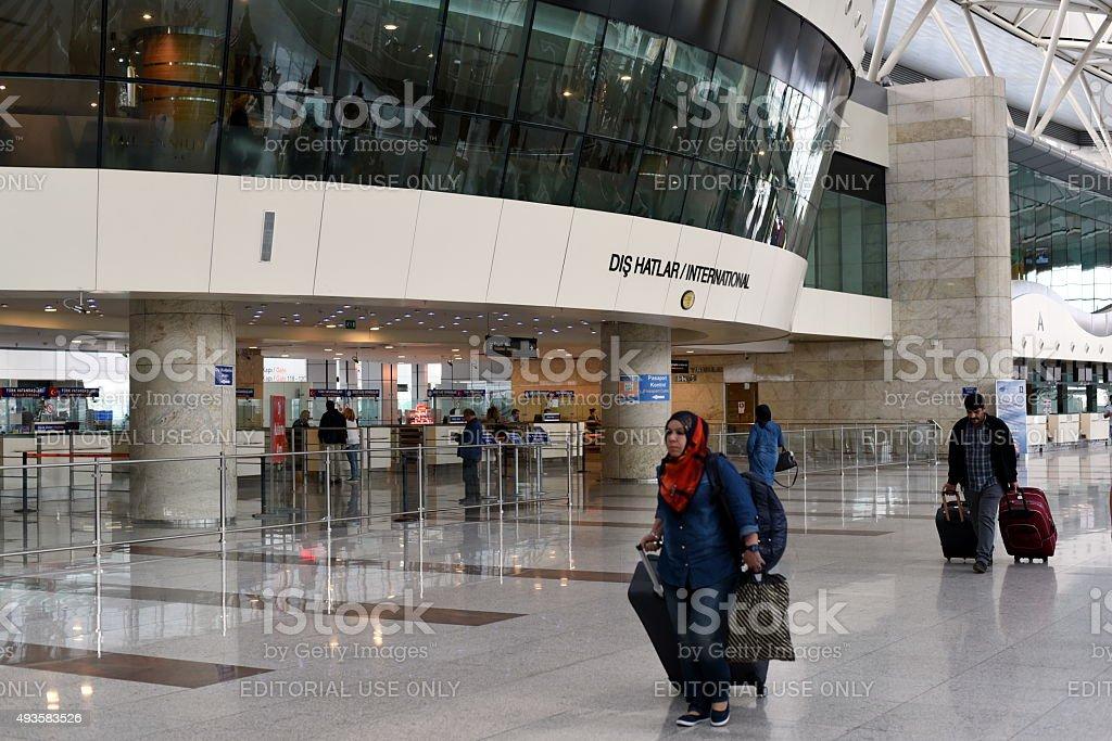 Passengers at international terminal of Ankara Esenboga Airport stock photo