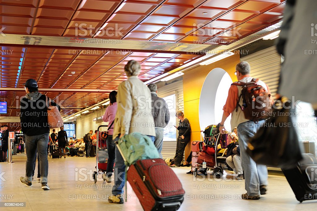 Passengers at Keflavik International Airport stock photo