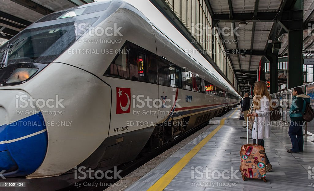 Passengers at railway station - high speed train – Foto