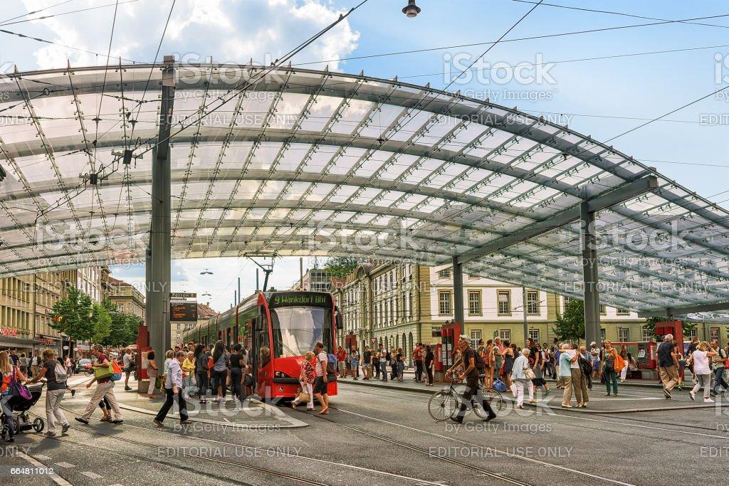 Passengers at railway station on Bahnhofplatz in Bern, Bern-Mittelland district, Switzerland stock photo