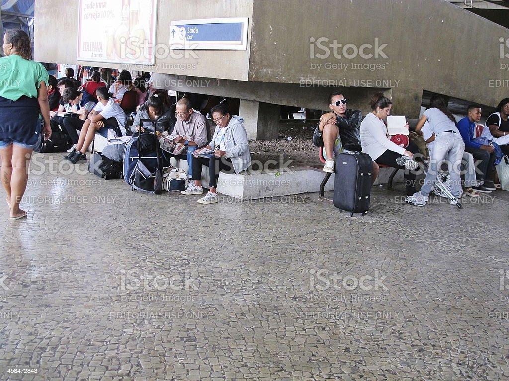 Passengers at Rio De Janeiro Rodoviario bus terminal royalty-free stock photo