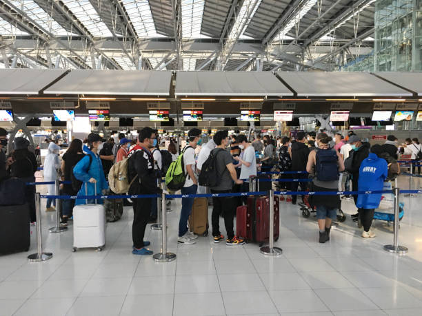 Passengers At Suvarnabhumi Airport In Bangkok Thailand During The Covid-19 Pandemic