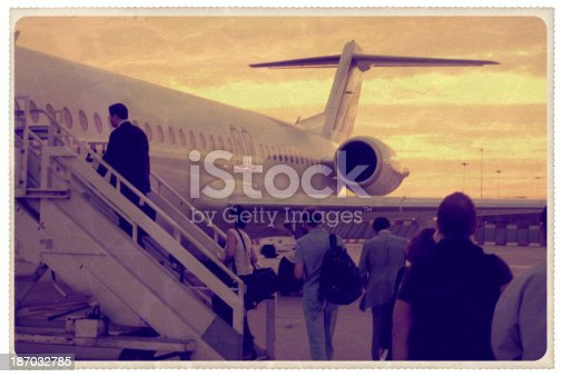Retro-styled postcard of passengers boarding a plane on the tarmac as the sun sets behind them. All persons are unrecognizable and all artwork is my own...For hundreds of similar vintage postcards from around the world, click the banner below.