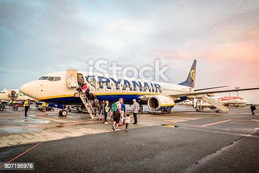 Copenhagen, Denmark - August 12, 2016: Passengers boarding a Ryanair Boeing B737 in Copenhagen airport. Near sunset