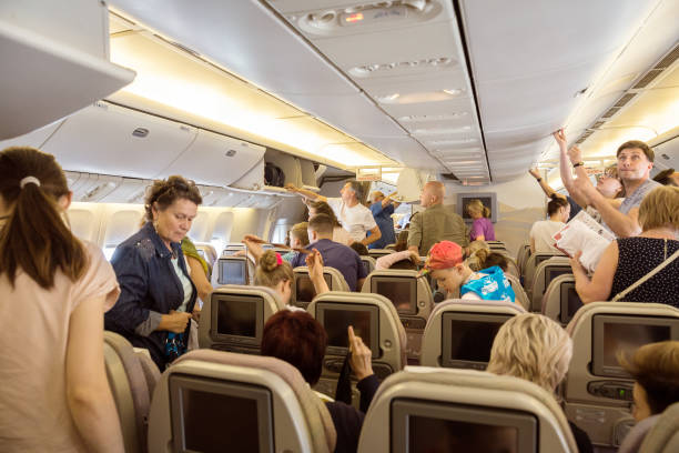 Passengers boarding stock photo