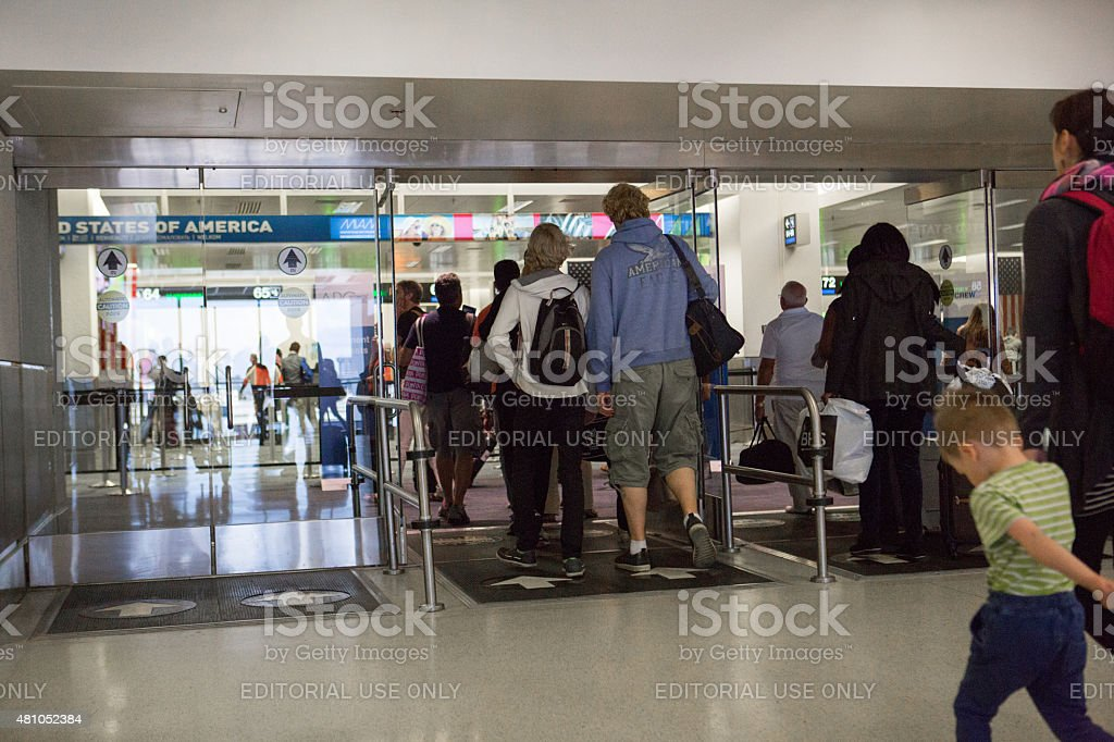 Passengers entering customs at Miami International Airport stock photo