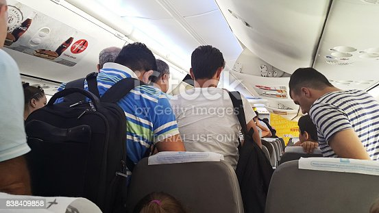 istock Passengers expect exit the aircraft after landing. 838409858