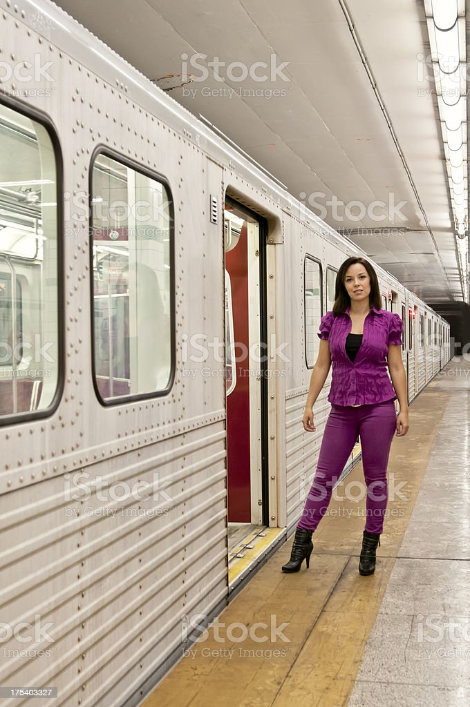 Passengers getting in and out from the subway train (V) royalty-free stock photo