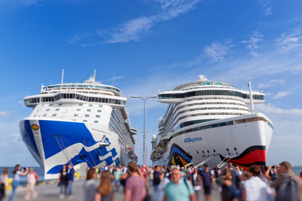 Passengers getting off from cruise ships in a harbor of Tallinn, Estonia stock photo