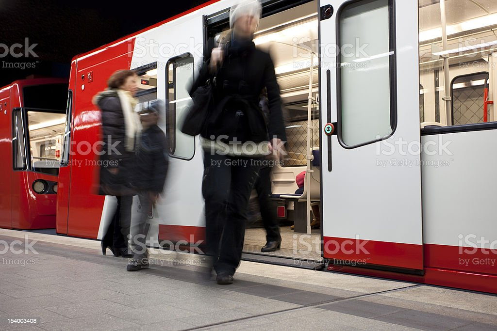 Passengers Getting off the Subway, Blurred Motion stock photo