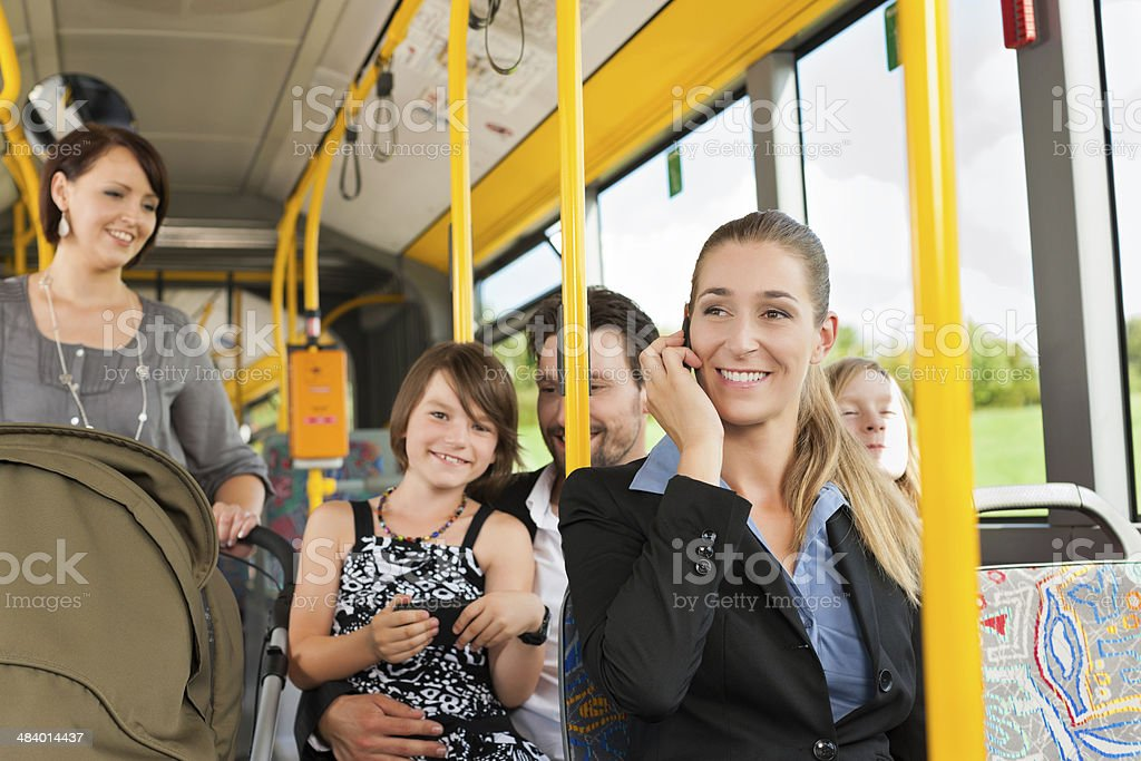 Passengers in a bus stock photo