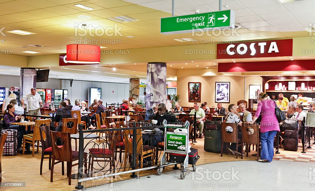 Passengers In A Costa Coffee Outlet Edinburgh Airport
