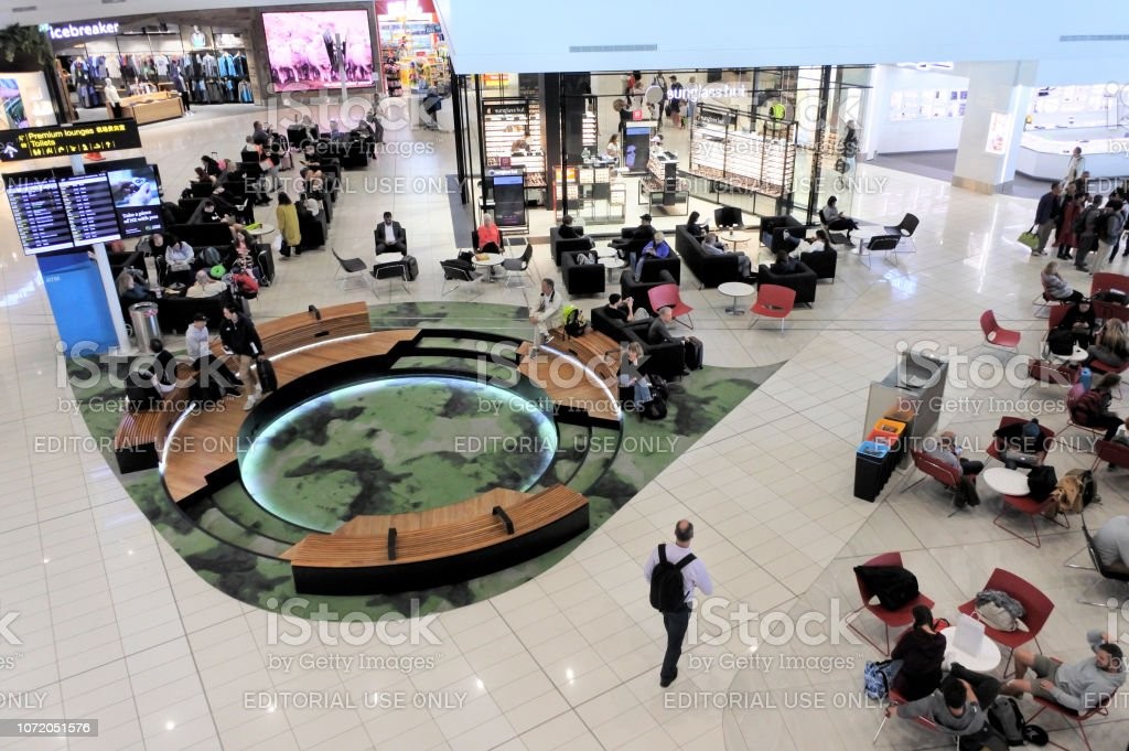 Passengers in Auckland Airport Terminal New Zealand stock photo