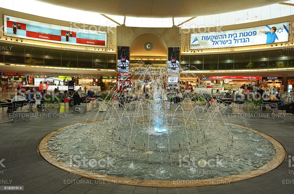 Passengers in Ben Gurion Airport, Israel stock photo