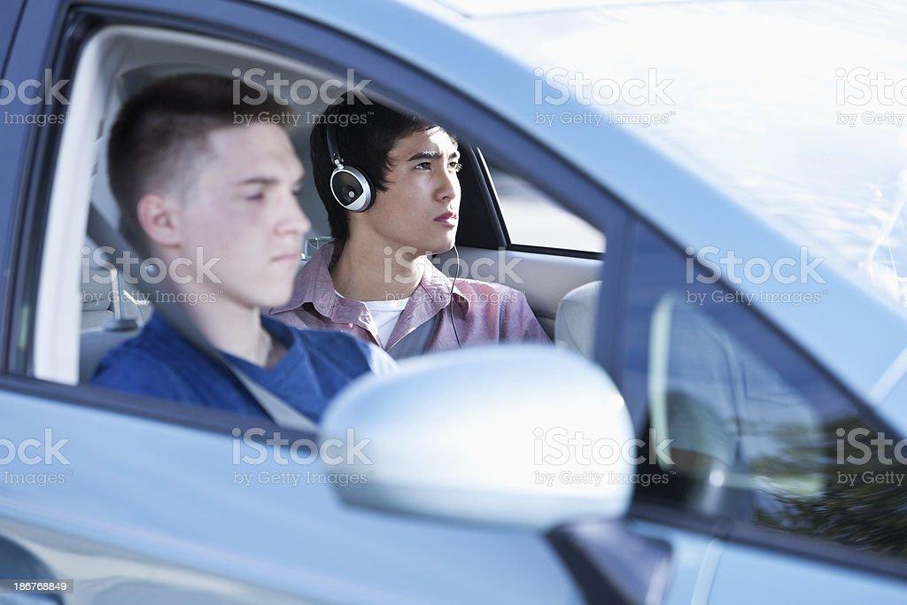 Passengers in car stock photo
