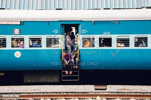Gwalior, India - November 15, 2017 : Passengers in Indian railway train