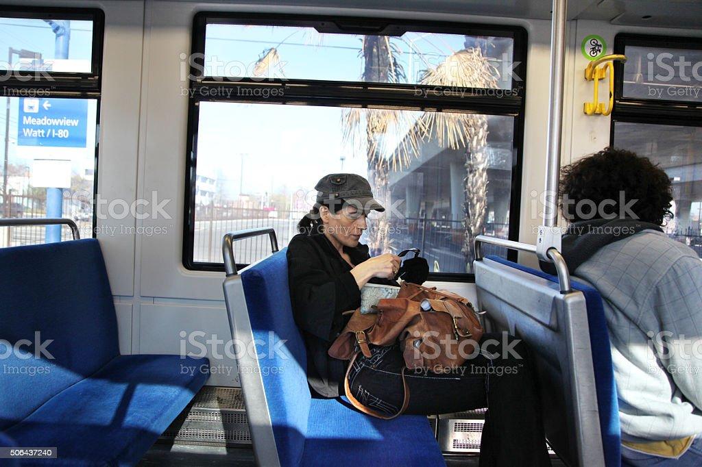 Passengers in public transportation stock photo