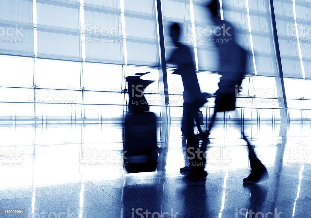 Passengers in Shanghai Pudong Airport stock photo