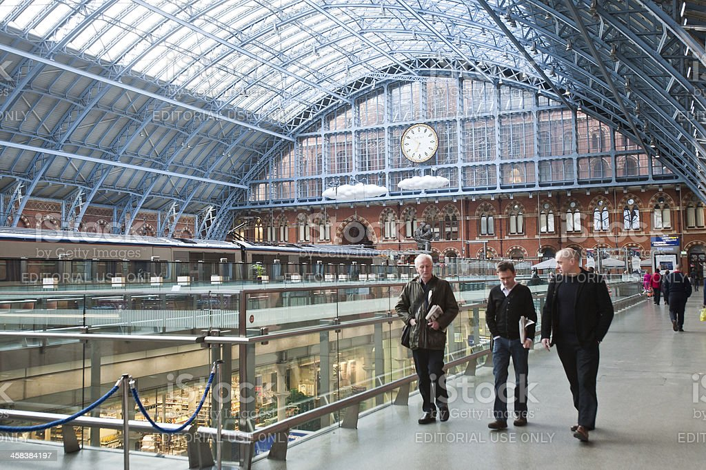 Passengers in St Pancras International Station stock photo