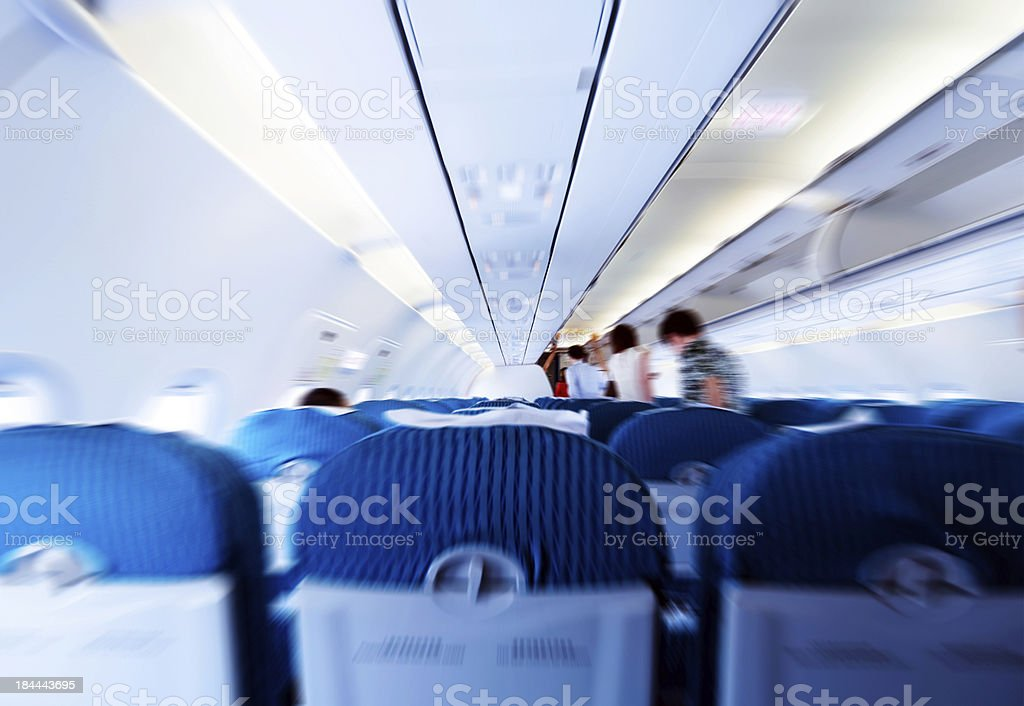 Passengers in the cabin stock photo