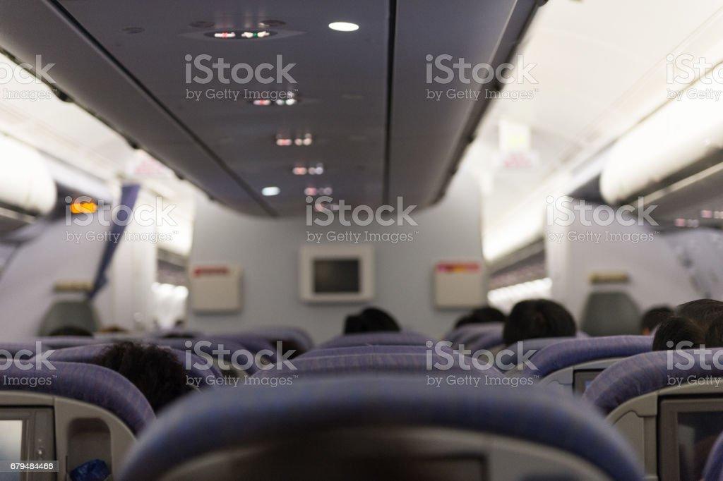 Passengers on a plane stock photo